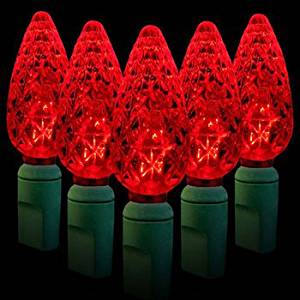 get quotations brand new red led christmas lights c6 green wire steady 35 bulbs 18 total length