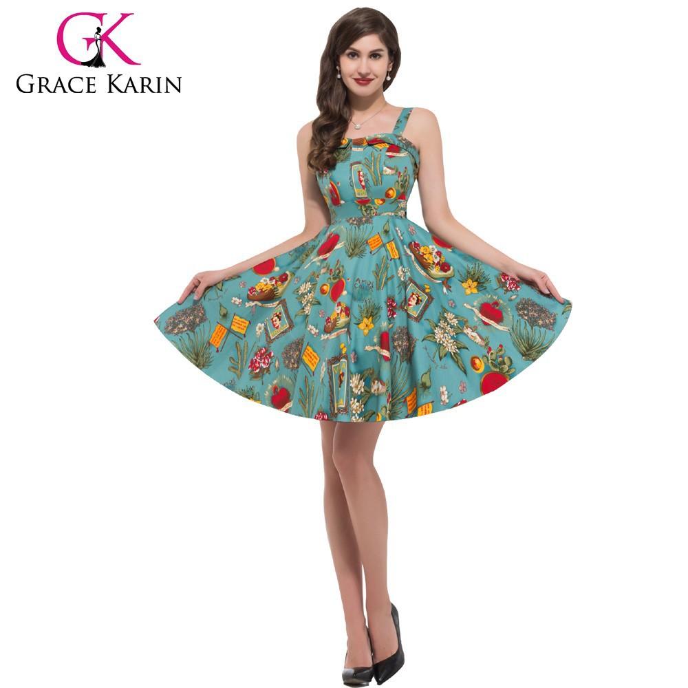 Grace Karin Vintage Styles Women Cotton Cheap Retro Dress
