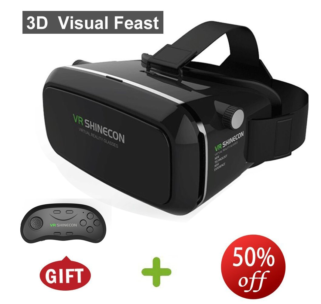 """WGHL 3D Headset Virtual Reality Glasses Head-mounted Headband VR for iPhone 7/6s/6 plus/6/5s/5c/5 Samsung Galaxy s6/s7/note4/note5 and Other 3.5""""-6.0"""" Smart Phone+Remote Controller."""