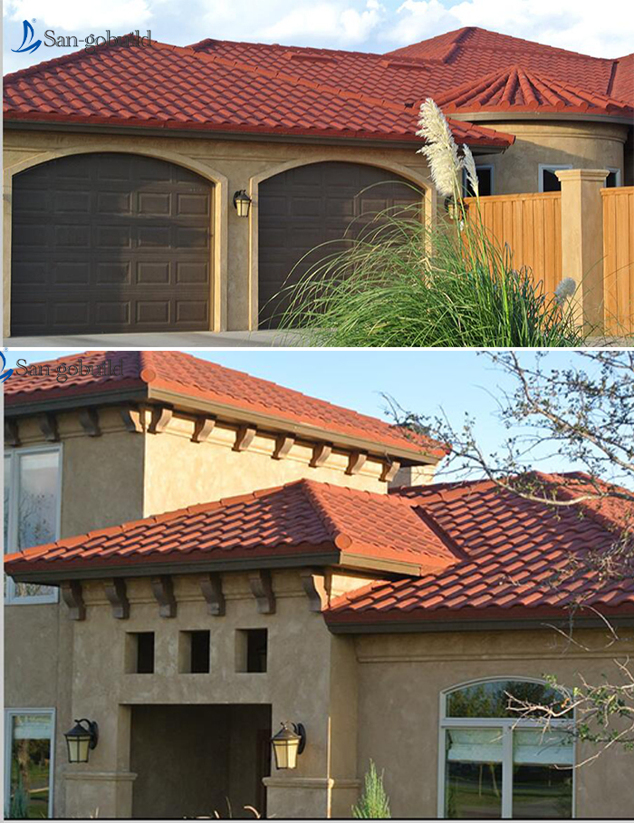 High Quality Building Material Prices Burgundy Stone Coated Steel Roof Tiles In