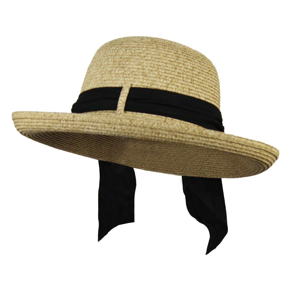Folie Co. Kettle Brim Summer Straw Sun Hat w/Black Sash – Derby, Gardening, Beach Cap