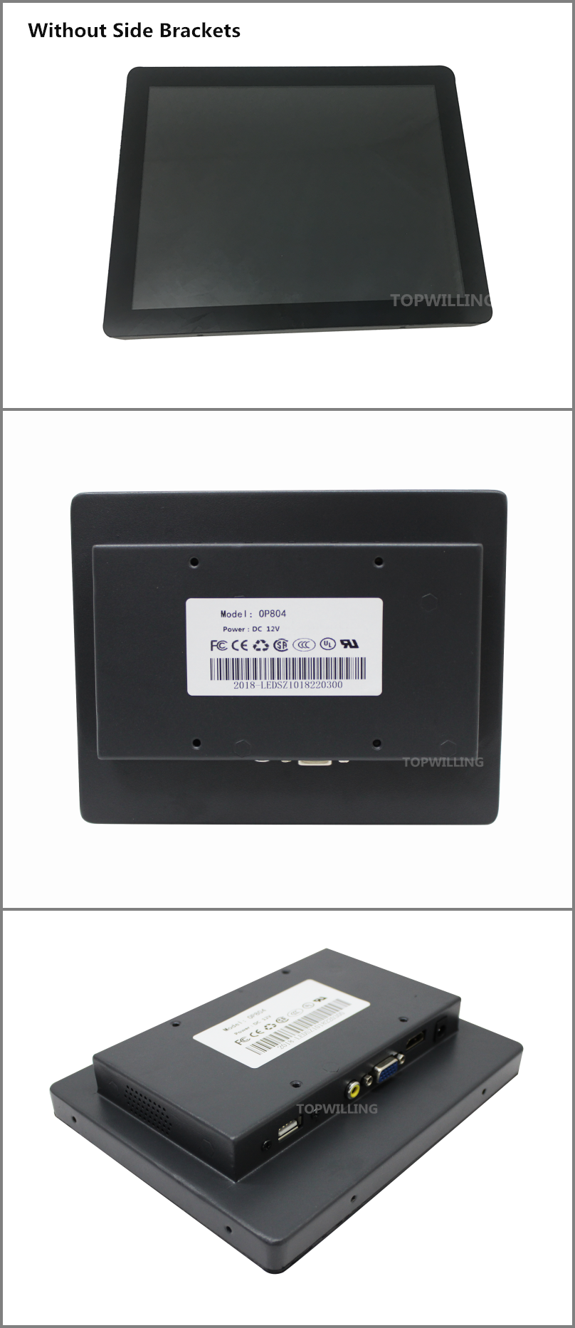 Metal Frame 8 inch Capacitive Touch Screen LCD Monitor for Embedded System