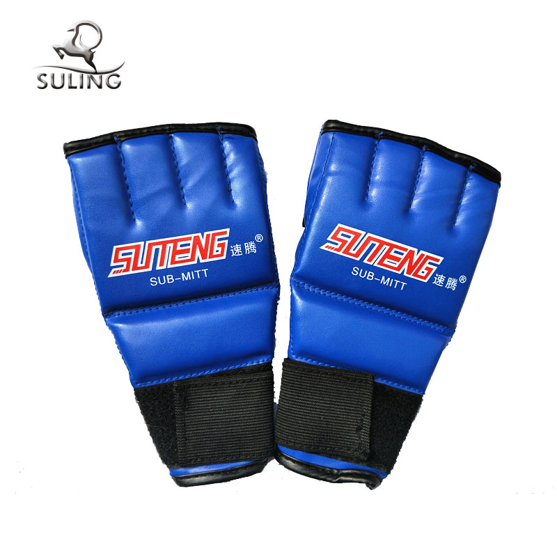2017 new half finger custom logo mma boxing gloves