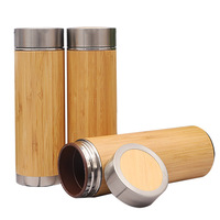 Best Selling Products Private Label Stainless Steel Bamboo Wooden Water Bottle