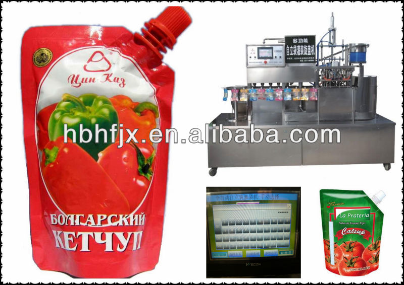 chain line type salsa de tomate sauce spouted pouch doypack filling and screw cap packing machine