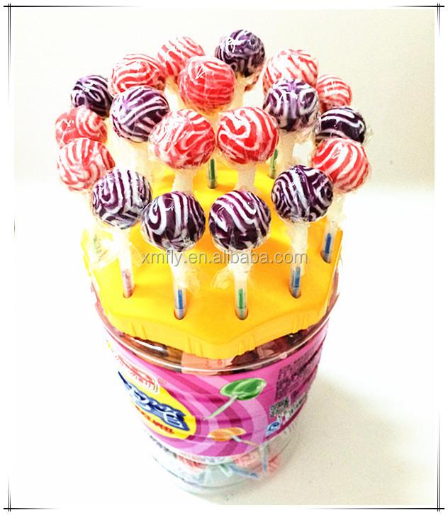 12g Berwarna Campuran Swirl Individual Dibungkus Permen Lollipop