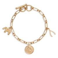 18k Gold Plated Stainless Steel Hypoallergenic Good Luck Charm Bracelet, Fancy Toggle Clasp Closure Chain Bracelet for Girls