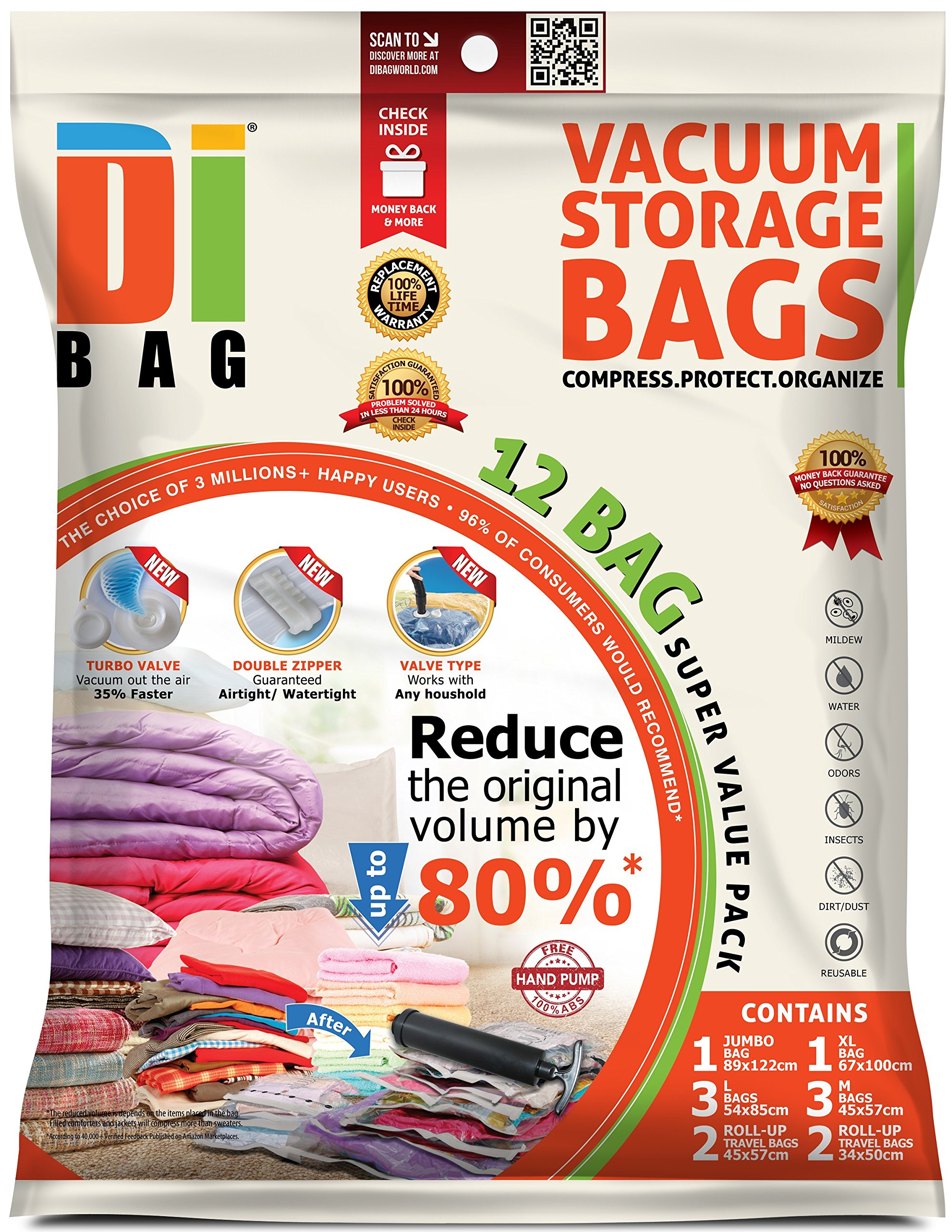 DIBAG ® 12 Bags Pack - Vacuum Storage Space Saver Bags. 1 Jumbo (48''X35'') (122X89 cm)+ 1 XL (39.37''X26.37'') (100X67 cm) + 3 Large (33.46''X21.25'') (85X54 cm) +3 Medium (22.44''X17.71'') (57X45 cm) + 2 Suitcase Travel Roll-up Bags (22.44''X17.71'') (57X45 cm) Without Suction or Valve + 2