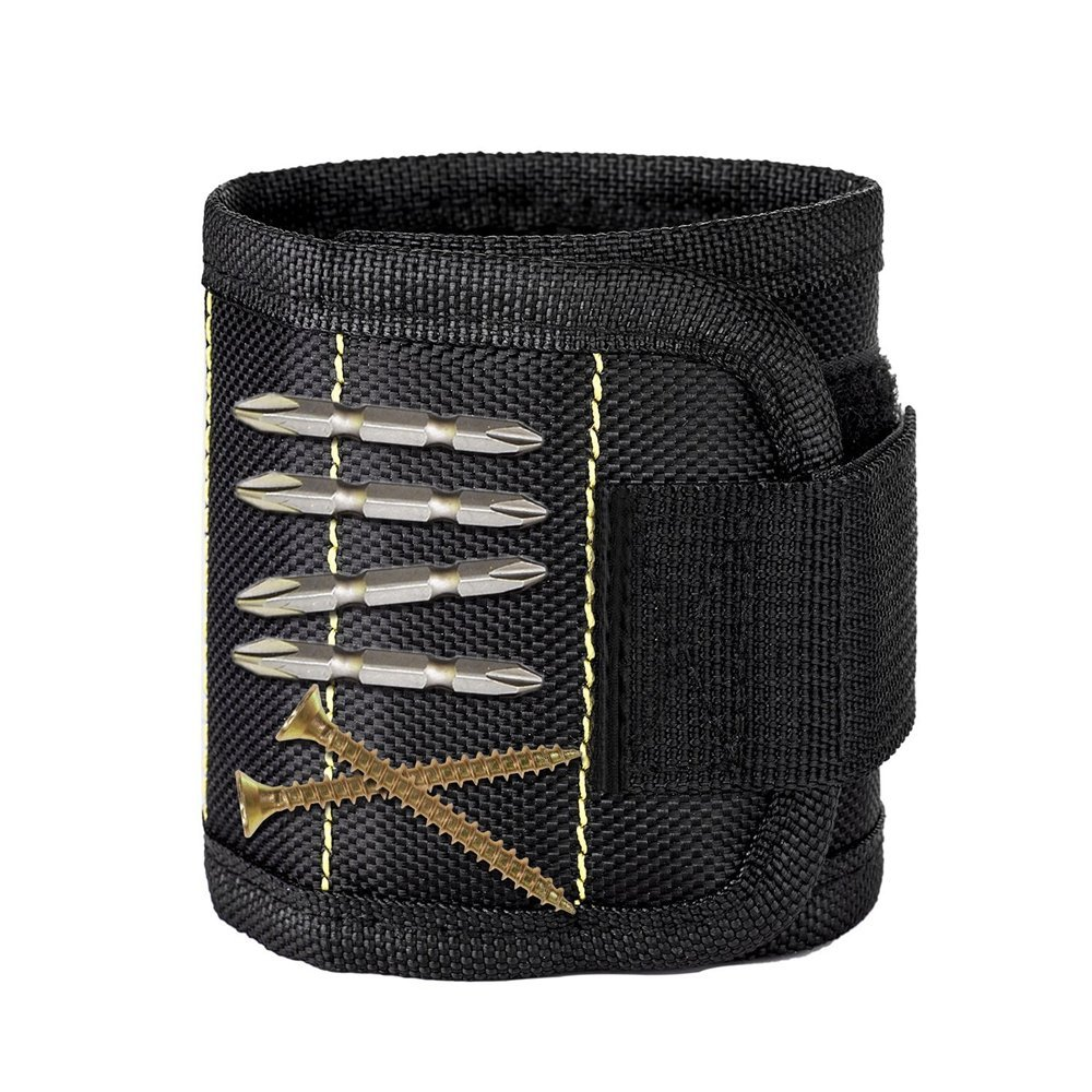 Magnetic Wristband, Magnets Magnetic Wrist Band with 5 Strong Magnets for Holding Screws,Nails,Drill Bits Holding Tools,Screws,Nails,Bolts and Small Tools,Nails and Screws,Tool Storage (Black)