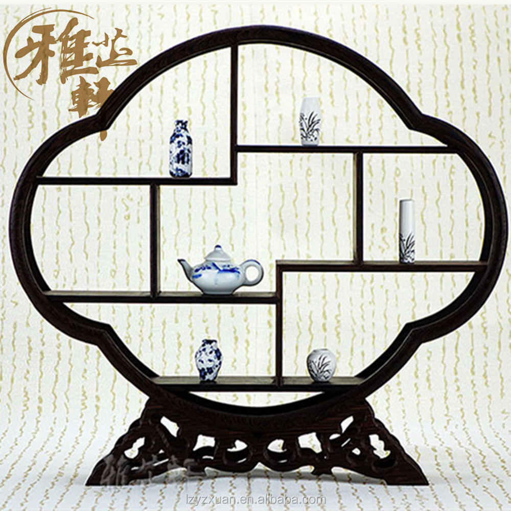 Best Selling Creative Design Hitom Shaped Chinese Wooden Antique Display Rack for Home Decoration