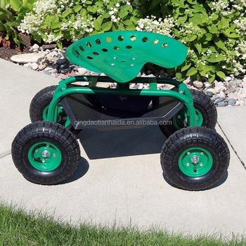 Garden Tools Rolling Garden Cart With Work Seat