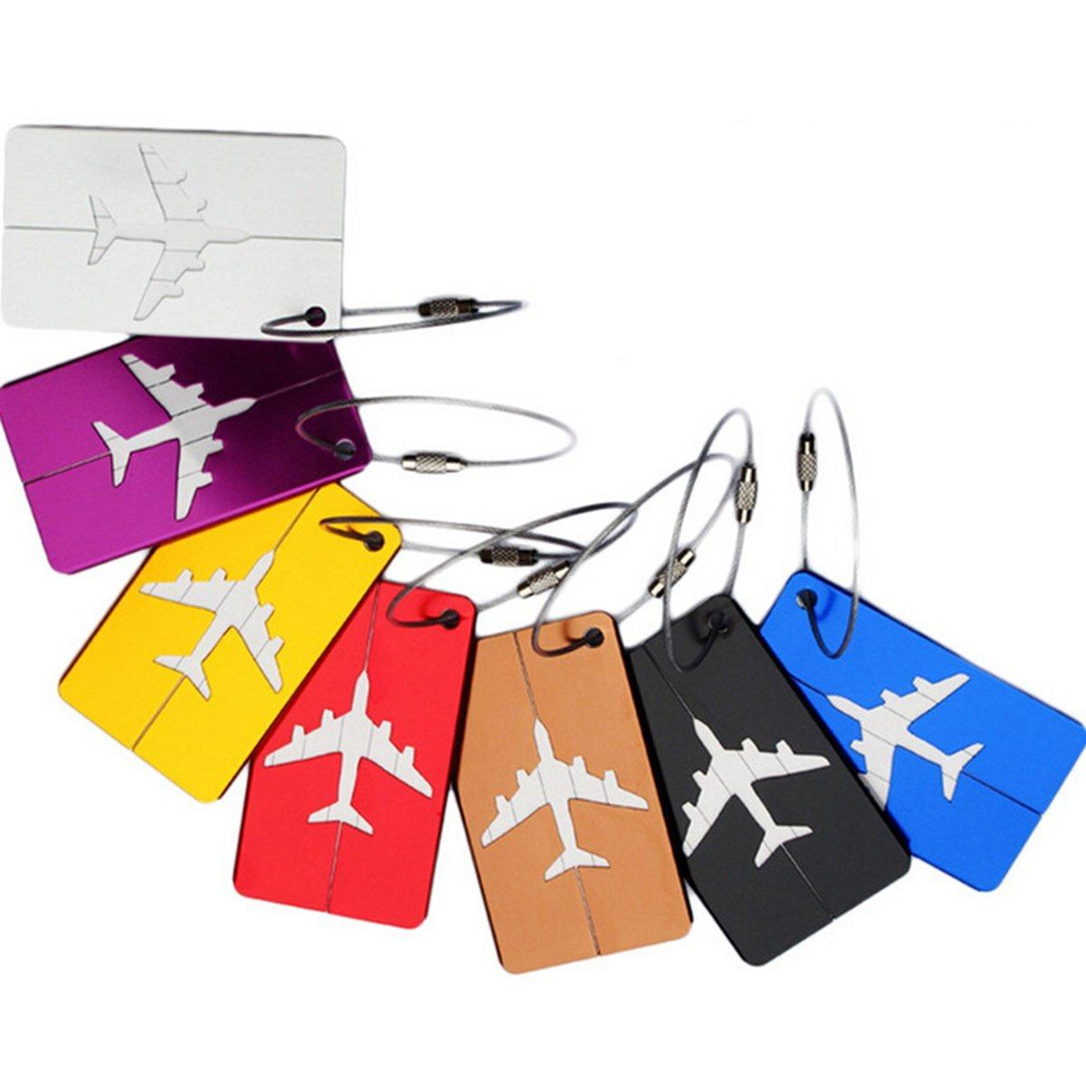 Tinksky Aluminum Airplane Pattern Travel Luggage Handbag Tag - 7 Colors