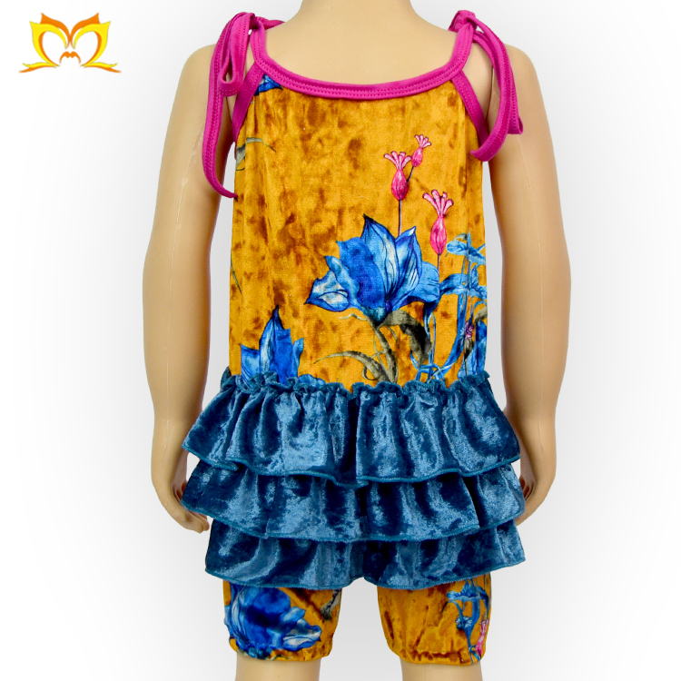 Adorable Girl Crushed Velvet Romper Custom Design Baby Clothes Private Label Jumpsuit
