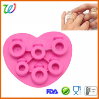 Silicone love diamond ring shape ice cube mold tray