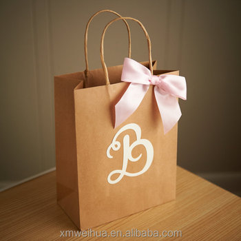 Custom Gift Bags For Wedding Guests Large Kraft Paper Bags With