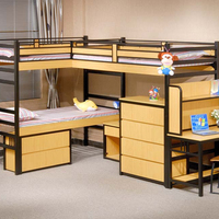 Steel wood dormitory kids furniture bunk beds with study table