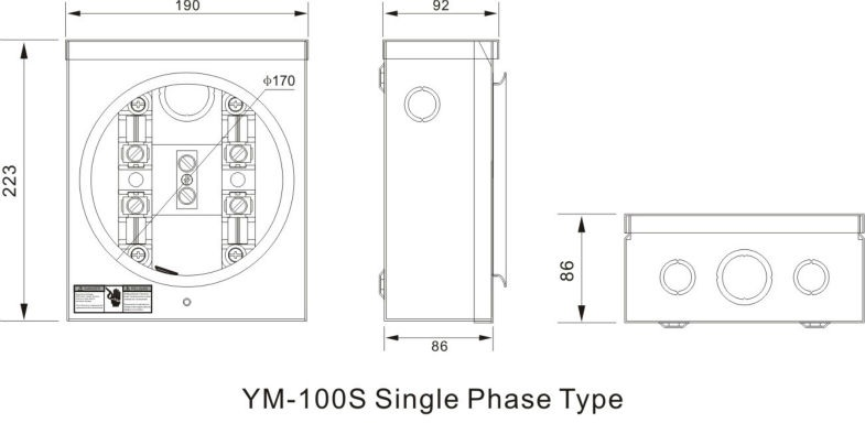 YOMIN 100A Single Phase Round Electric 60586042192 on single phase meter wiring diagram