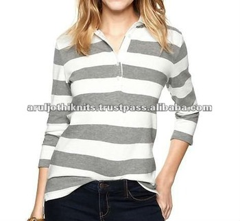 Women S Long Sleeve Striped Rugby Polo View Polo Shirt Design For Women Stitched With Buyers Brand Logo Label Product Details From Aruljothi Knits