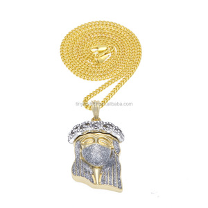 New HipHop 18k Gold Plated Mask Jesus Face Pendant Necklace simulate CZ Diamond Jesus Piece Jewelry Cuban Chain bling iced