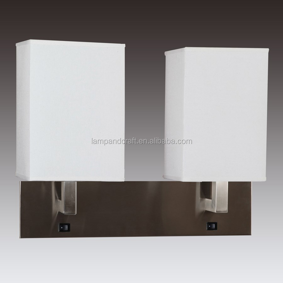 UL CUL Listed Brushed Nickel Double Wall Lamp Hotel Lamps bedside hotel wall sconce With double switches at backplate