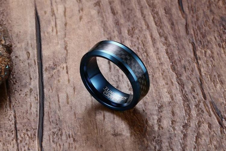 Factory Wholesale Carbon Fiber Blue Tungsten Carbide Men's Ring