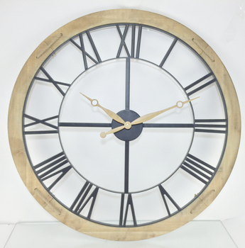 Farmhouse Rustic Barn Vintage Bronze Metal Solid Wood Noiseless Oversized Wall Clock Round Chiming