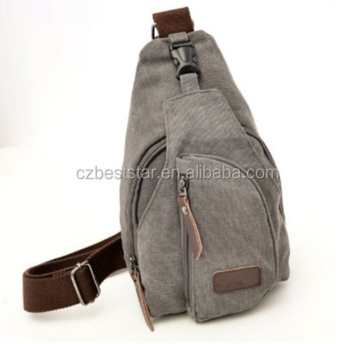 b79ced0526f Cool Outdoor Sports Casual Canvas Unbalance Backpack Crossbody Sling Bag  Shoulder Bag Chest Bag for Men
