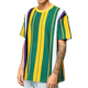 Green yellow purple oversized vertical stripe t-shirt Scoop neck custom t shirt men