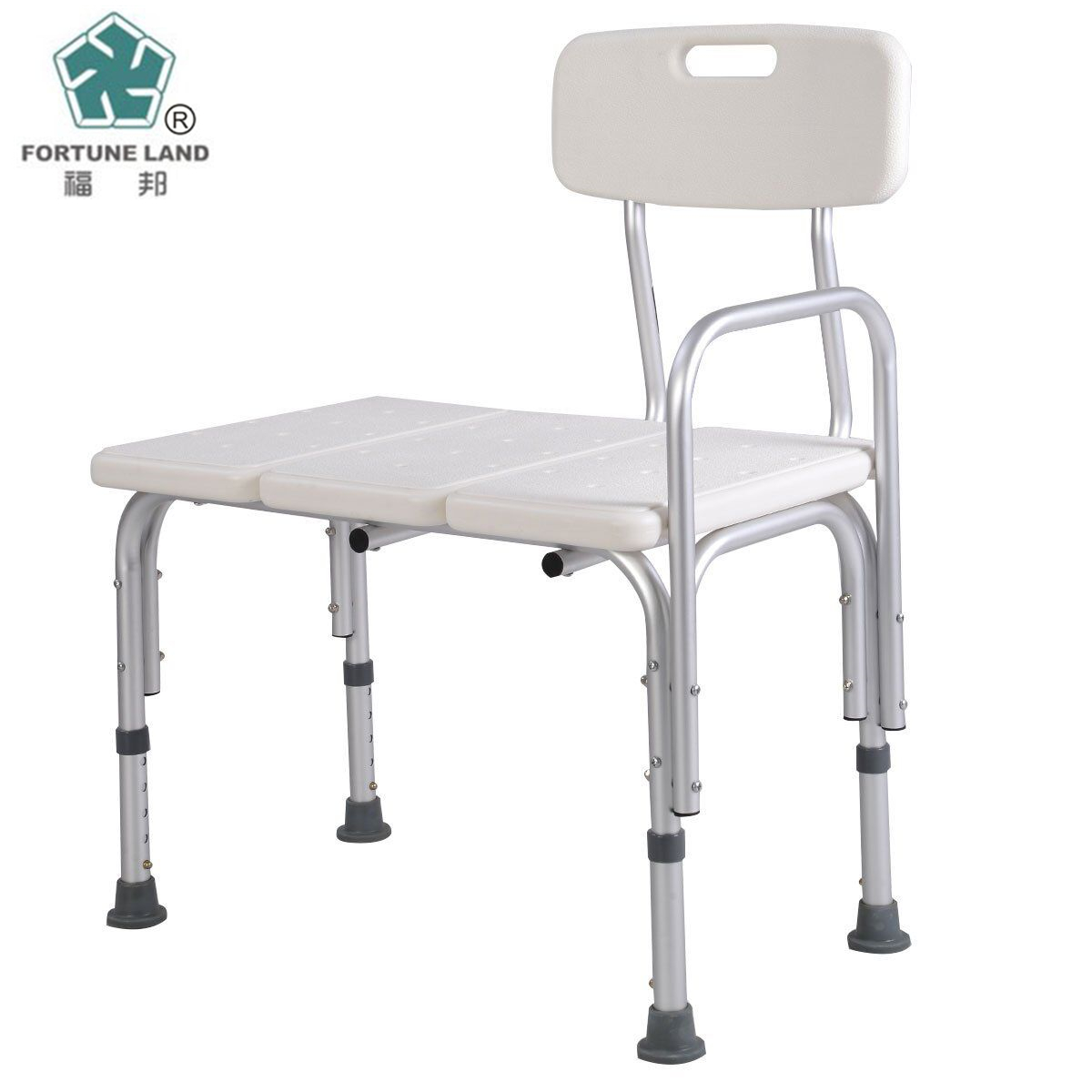 Low price One-piece Bath Tub Aluminium Alloy Adjustable Shower Chair with Removable Back