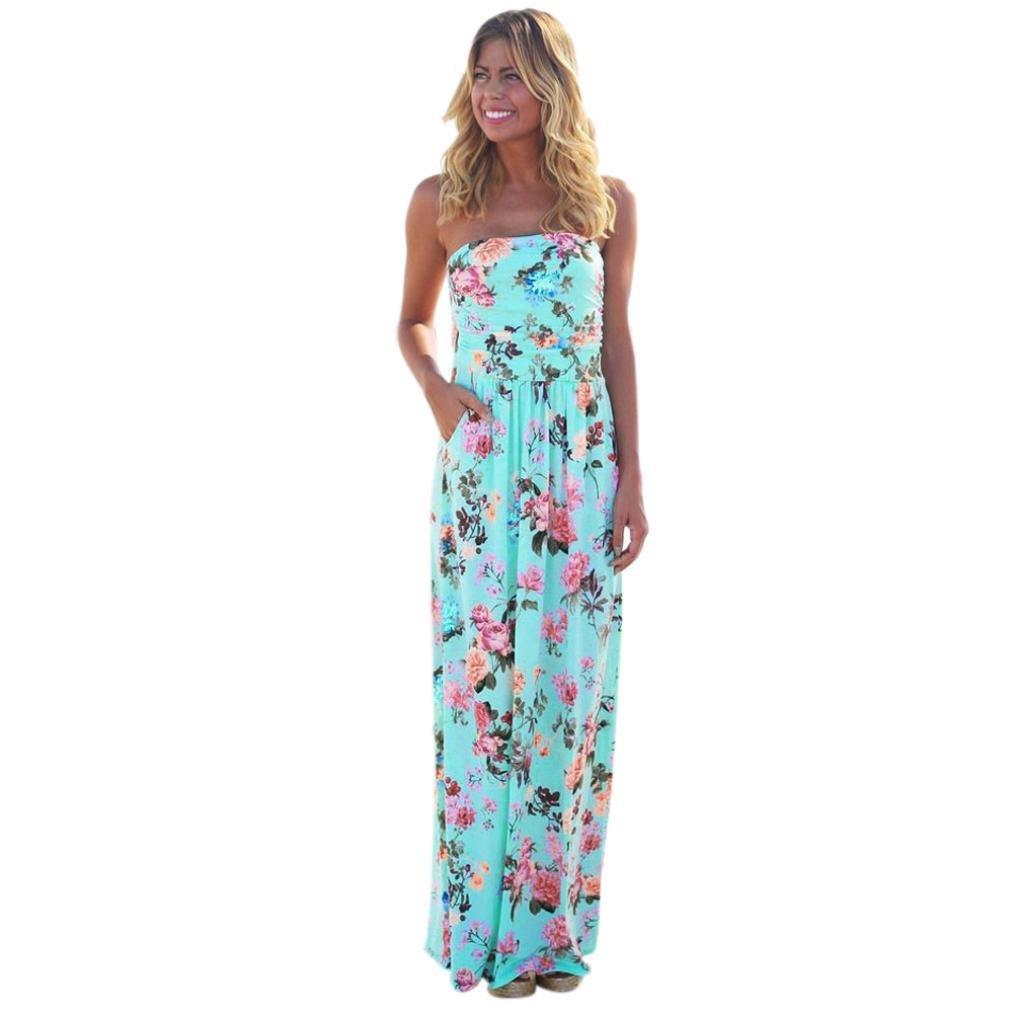 8115708d79 Beautiful Womens Print Holiday Bandeau Long Dress