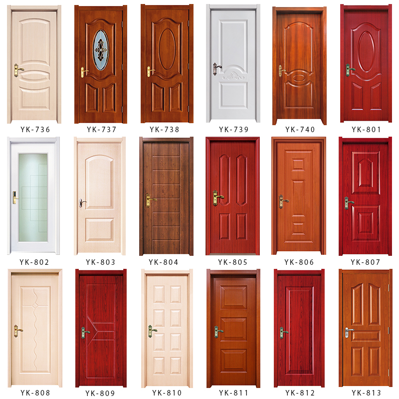 Bathroom Doors Plastic yk801 bottom price pvc/wpc interior wood toilet/bathroom door