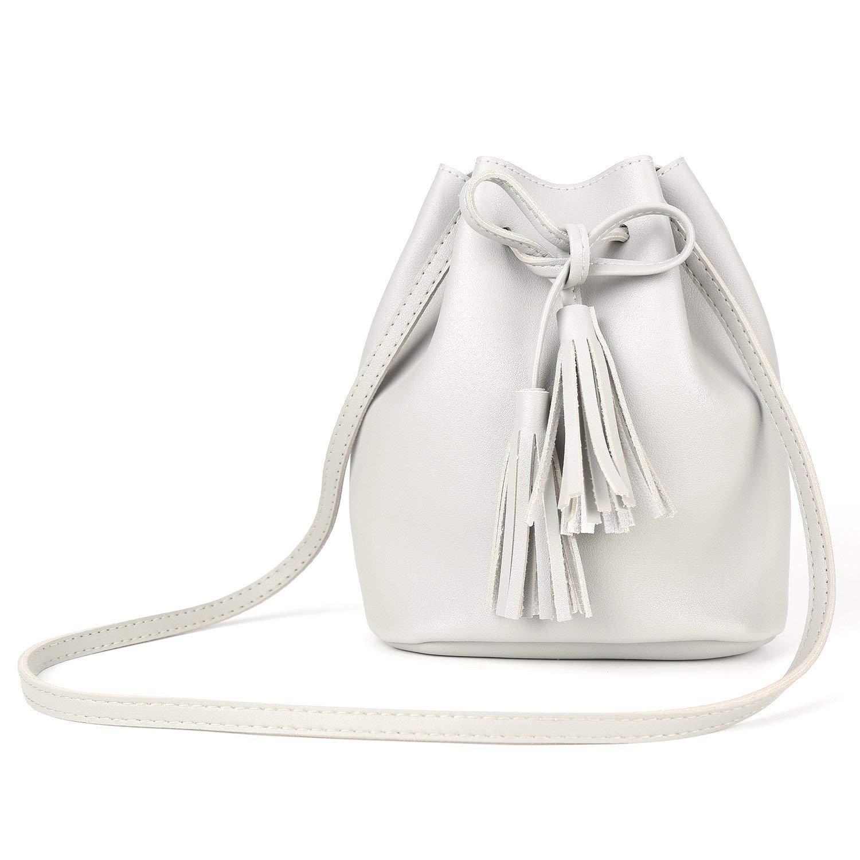 d37df115285a Get Quotations · Drawstring Bucket Bag for Women Shoulder Bag Crossbody  Bags Purse Tassel PU Leather Handbags