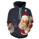 New Design Cool Winter Pullover Sweater Men Digital Santa Printing Hoodie