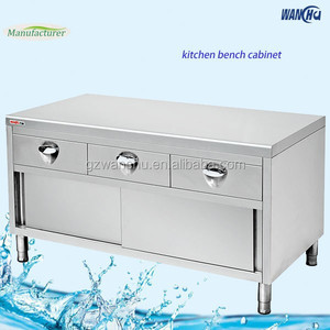 Stainless Steel Work Table Cabinet Cutlery Drawers/Heavy Duty Working Bench Food Counter Island Cabinet with Sliding Door
