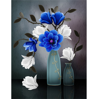 Blue Flower Vase Painting Designs For Living Room Diy Painting By