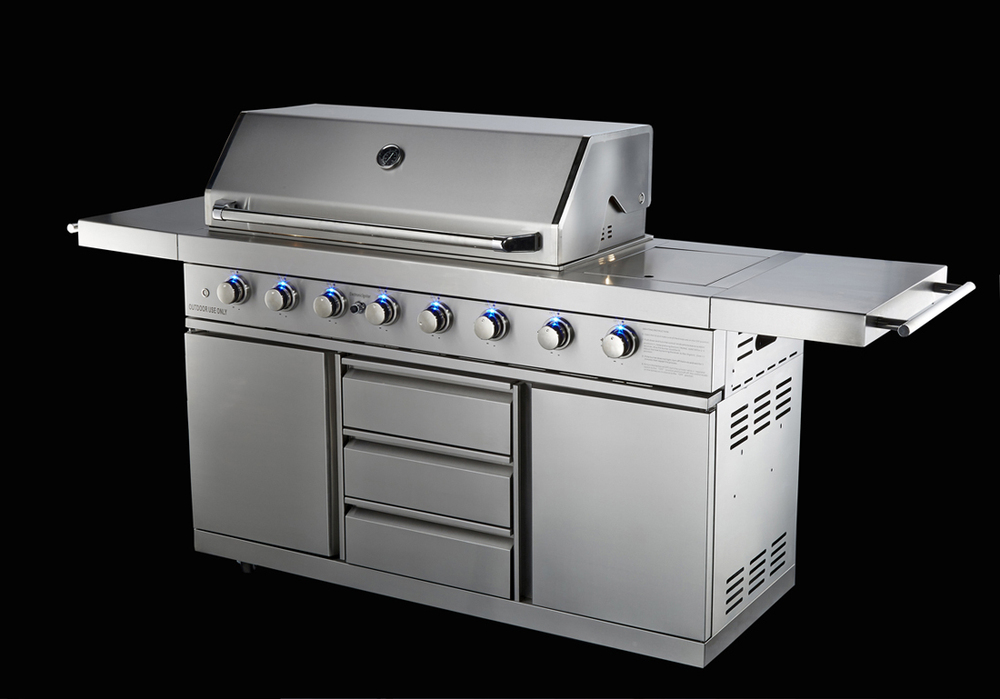 AGA Approval 6 Burner Gas BBQ Grill With Blue LED Light