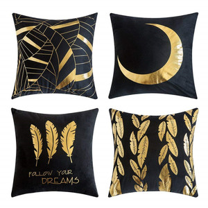 Gold Stamping Soft Soild Decorative Square Outdoor Indoor Throw Pillow Covers Set Cushion Case for Sofa Bedroom Car Office