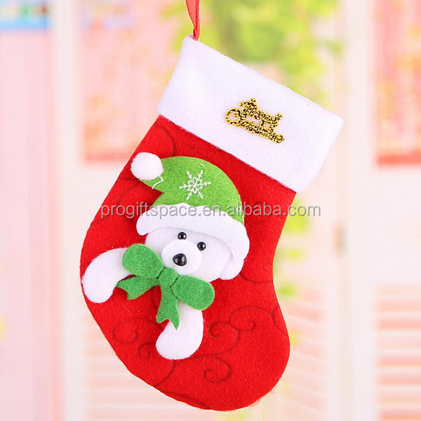 New products 2017 personalized beaded eyes of bear deer Santa Claus fabric sock decor wool felt bucilla christmas stocking kits
