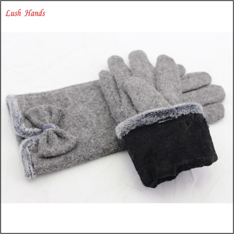 2016 Hot Sale Woolen Gloves Cotton With bowknot