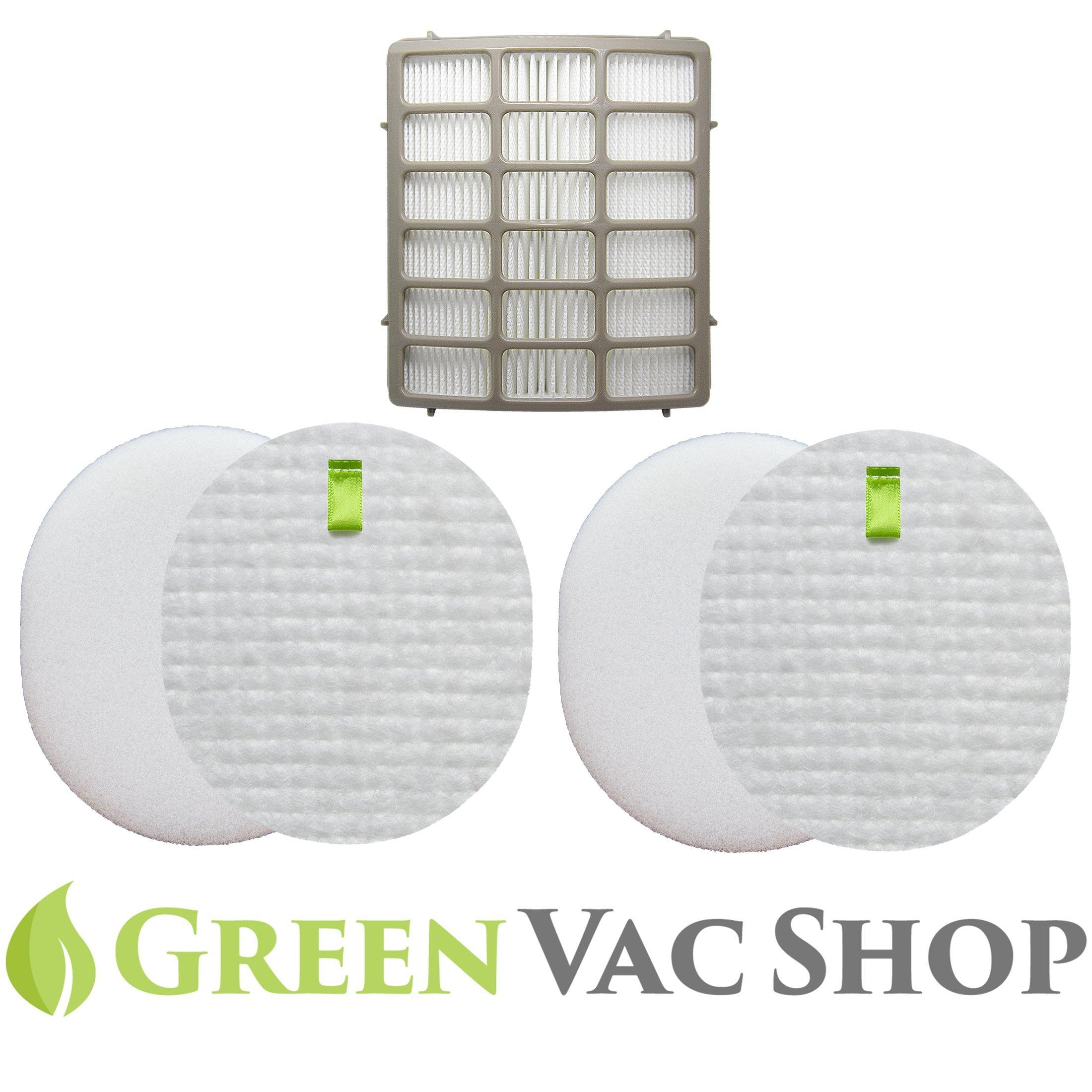 GreenVacShop 2+1 Pk Shark Navigator Professional (NV70, NV71, NV80, NVC80C, UV420)& Shark Rotator Professional XL Capacity (NV90, NV95) Replacement Filter Set, 2 Foam+2 Felt+1 HEPA Filters XFF80 XHF80