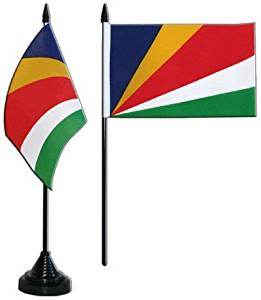 SET of 3 Seychelles 5'x3' Flag + Seychelles Table Flag + Seychelles Embroidered Patch