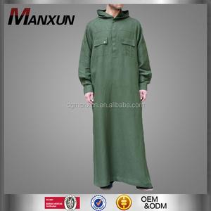 Latest hooded kuwait style men thobe arabic men daffah thobe