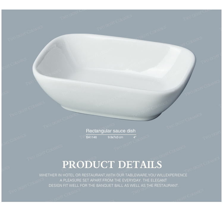 Top selling products in alibaba white serving dishes rectangle sushi sauce porcelain baking dish