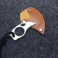 "Custom Handmade Combat Tactical Claw Karambit Ring 3"" Knife Card knife credit card knife with Leather Sheath"