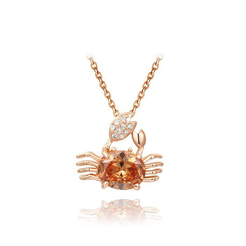 <strong>Cheap</strong> Wholesale Austrian Crystal Jewelry <strong>Cute</strong> Crab Pendants <strong>Necklace</strong> Gold Plating <strong>Necklace</strong> For Women