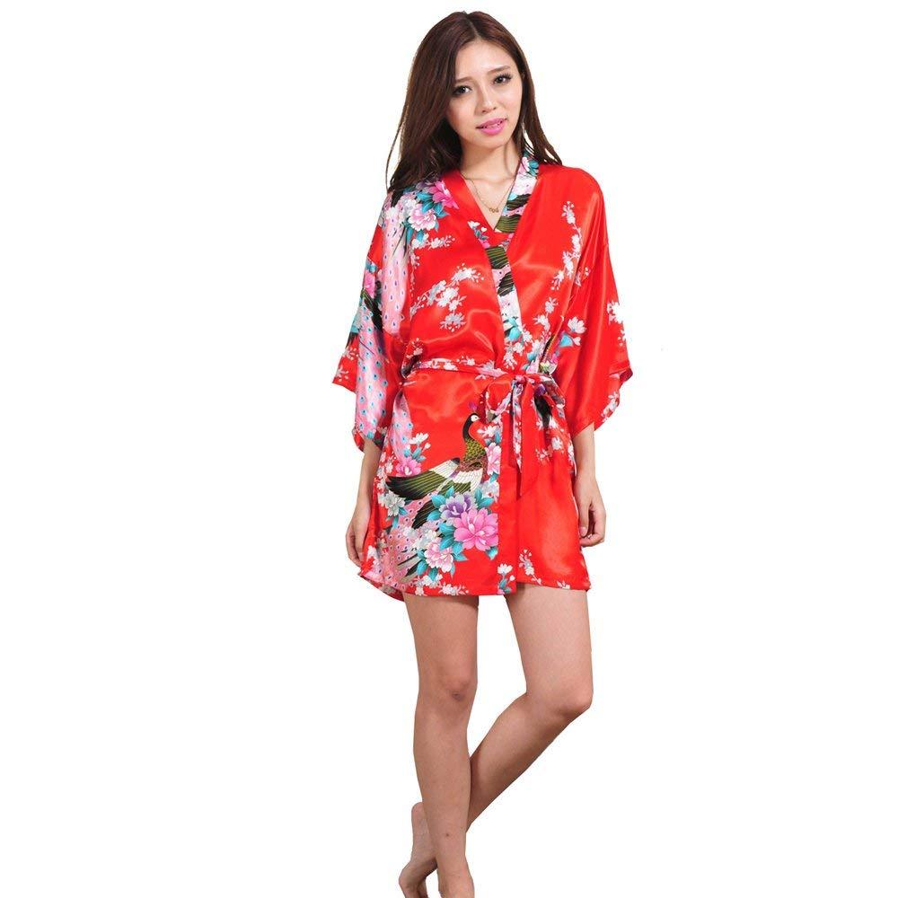 Get Quotations · ALJL Sleeping robe imitation silk ladies satin kimono  short bathrobe comfortable pajamas loose bathrobe dress fashion 7e2758388