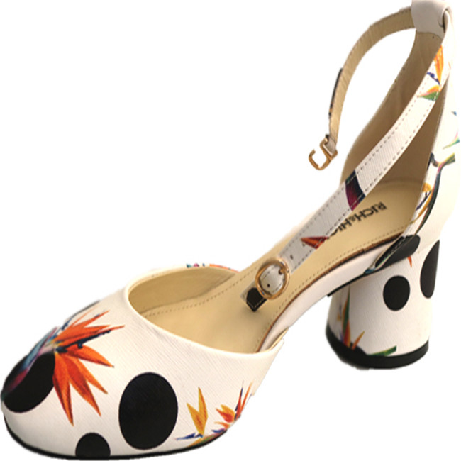 Chunky Office Print lady's 2017 Decoration Shoes Heel Low Dress Floral p0t5wxfq