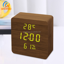 2018 New Fancy MDF Cube Wooden Thermometer Hygrometer LED Alarm Clock