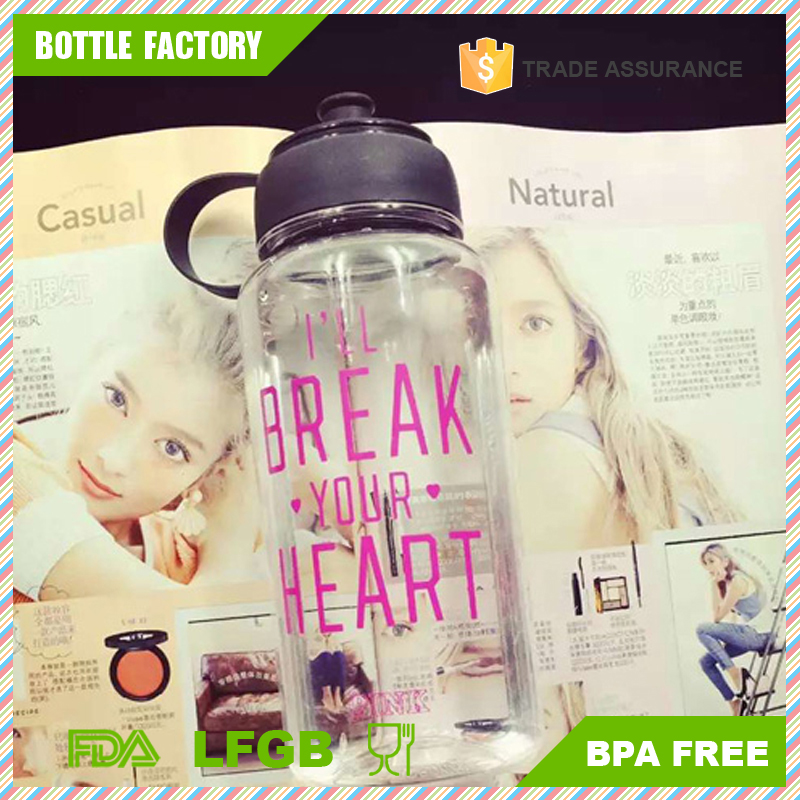 victoria secret pink 1000ml Healthy Wide Mouth Plastic Sports Water Bottle