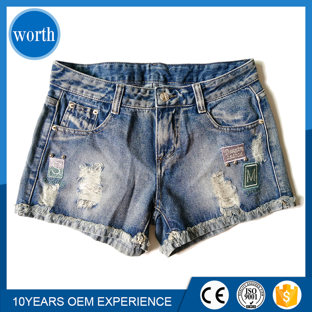 Short Jeans Womens Denim Half Pants with Your Own Brand Jeans